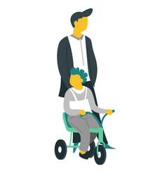 father and son on bike walking fatherhood vector image