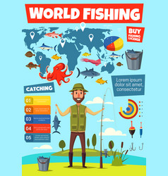 fishing sport infographic with fish catching chart vector image