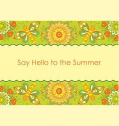 folk gentle floral background vector image