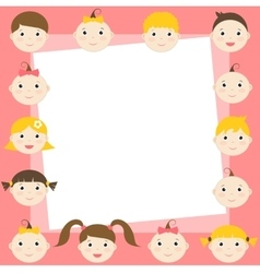 Frame with cute boys and girls vector