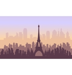 France city and eiffel tower of silhouette vector