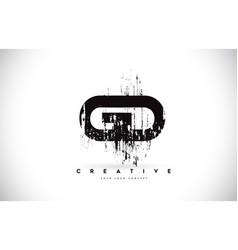 gd g d grunge brush letter logo design in black vector image