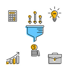 graphic icons for business work process vector image