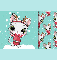 greeting card christmas cats vector image