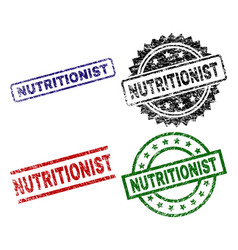 Grunge textured nutritionist stamp seals vector