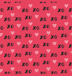 Hand drawn seamless pattern with xoxo vector