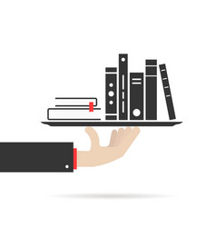 Hand holding group of books on plate vector