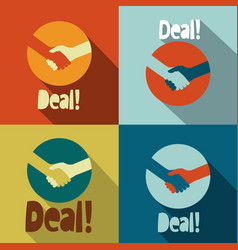 handshake deal icons - retro flat design symbol vector image