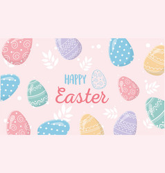 happy easter delicate eggs decoration ornate vector image