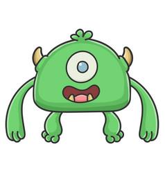 Happy green cyclops goblin cartoon monster vector