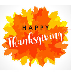 happy thanksgiving red maple leaf card vector image