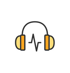 Headphone with sound wave flat color line vector