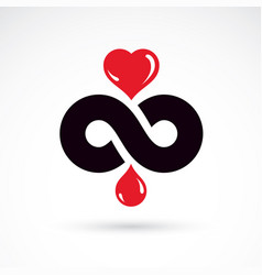 heart shape drops of blood and symbol of vector image