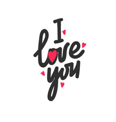 I love you lettering with red hearts on white vector
