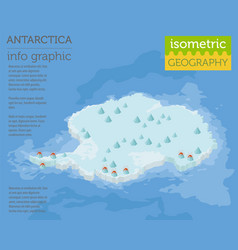 Isometric 3d antarctica physical map elements vector