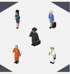 Isometric people set of policewoman detective vector