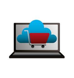 laptop cloud computing shopping cart vector image