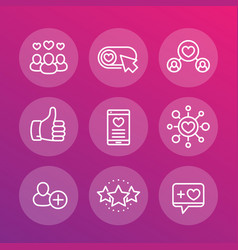Likes followers rating linear icons set vector