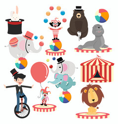 lovely circus characters cartoon festival set vector image