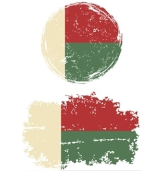 Madagascar round and square grunge flags vector