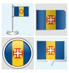 Madeira flag - sticker button label flagstaff vector
