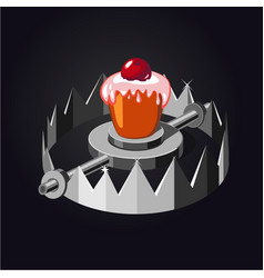 Metal trap with cake realistic vector