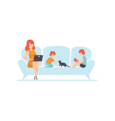 Mother sitting on sofa and working on laptop vector