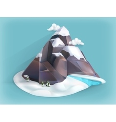 Mountain winter icon vector image
