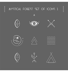Mystical forest set icons 1 vector