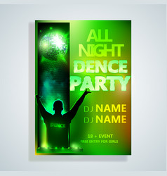 Night dance party poster background template fest vector