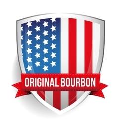 Original Bourbon ribbon on USA flag shield vector