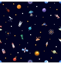 Pattern of space icons and infographics elements vector image
