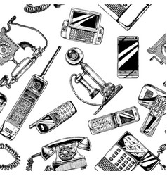 pattern with telephone and mobile phone vector image