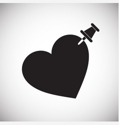 Pinned heart icon on white background for graphic vector