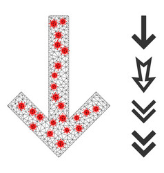 Polygonal wire frame down arrow icon with virus vector