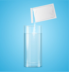 pouring powdered in transparent glass with water vector image