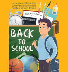 pupil and back to school on blackboard poster vector image