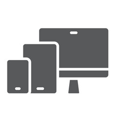 Responsive glyph icon computer and laptop vector