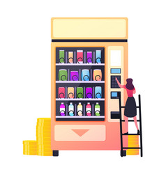 Retail technology for selling fastfood vending vector