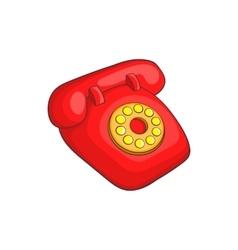 Retro red telephone icon cartoon style vector image