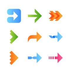 Right arrows flat design long shadow color icons vector
