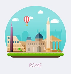 rome skyline and landscape buildings and famous vector image