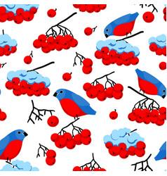 rowan and bullfinches vector image