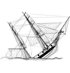 sailing ship wreck vector image
