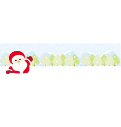 Santa claus on snow with snowy hills forests vector