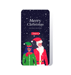 Santa claus with african american female elf vector