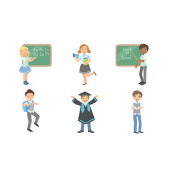 Set images boys and girls at school vector