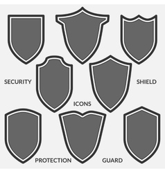 Set of shield icons Monochrome security signs vector