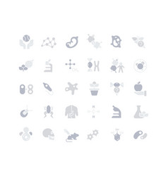 set simple icons biology vector image