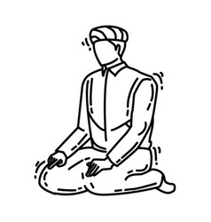 Sholat icon doodle hand drawn or outline icon vector